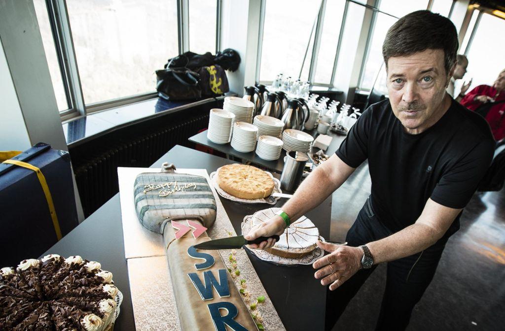 SWR-Moderator Michael Branik im Mai 2016 beim Kaffeeklatsch auf dem Stuttgarter Fernsehturm. Foto: Lichtgut/Leif Piechowski