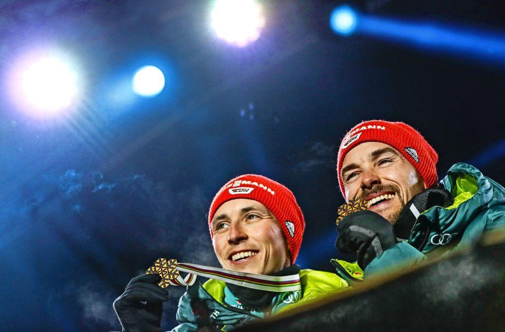 Die Goldjungs: Eric Frenzel (links) und Fabian Rießle Foto: Getty