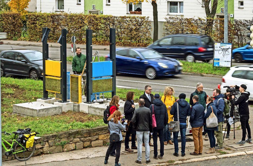 Großer Medienaufmarsch für eine kleine Mosswand in Eglosheim. Foto: factum/Weise