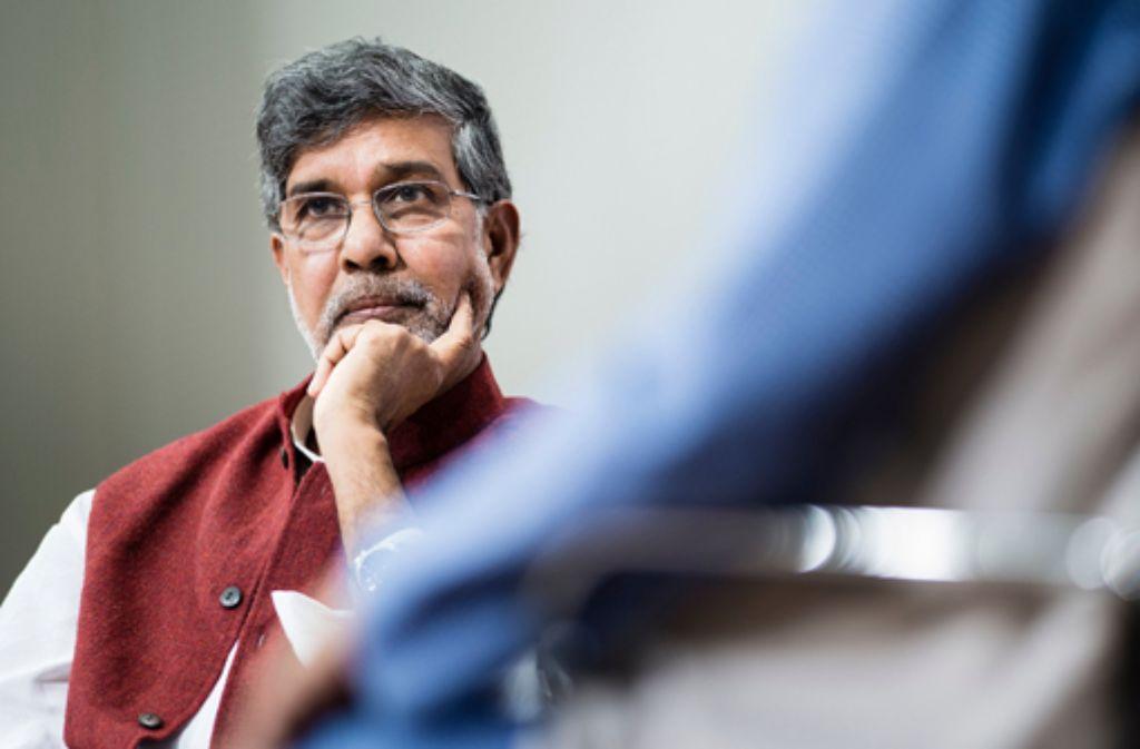 Kailash Satyarthi spricht im Theaterhaus Stuttgart. Foto: dpa