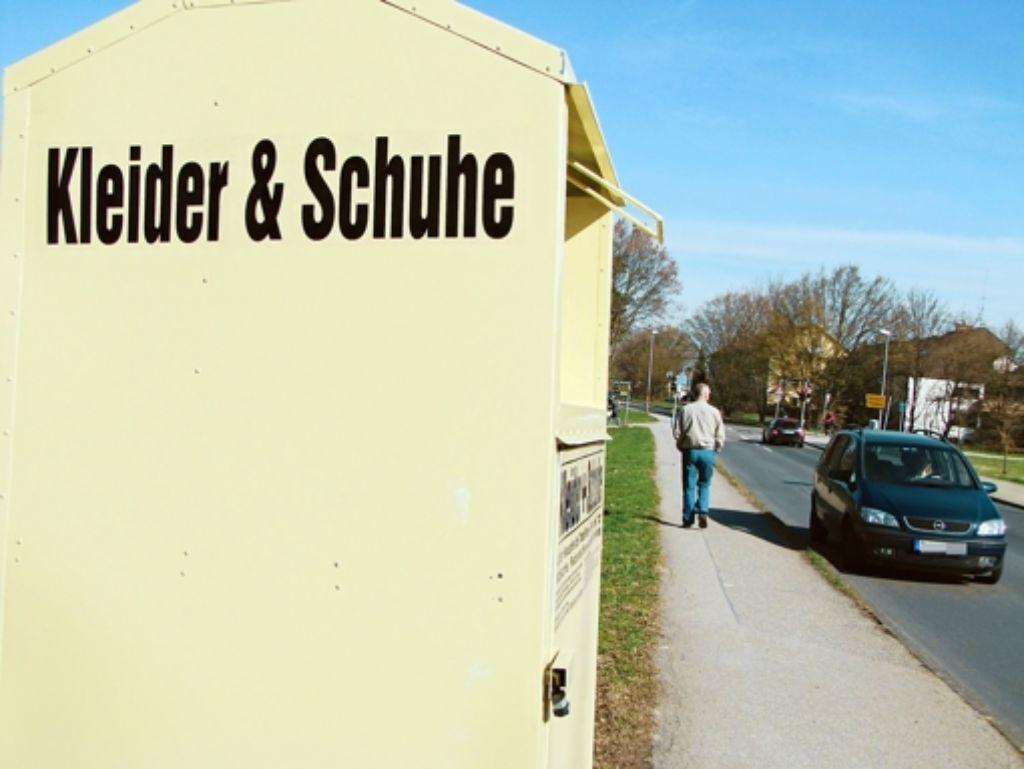 Ein Container der Firma AG Textilverbund steht an der Florentiner Straße in Sillenbuch. Foto: Judith A. Sägesser