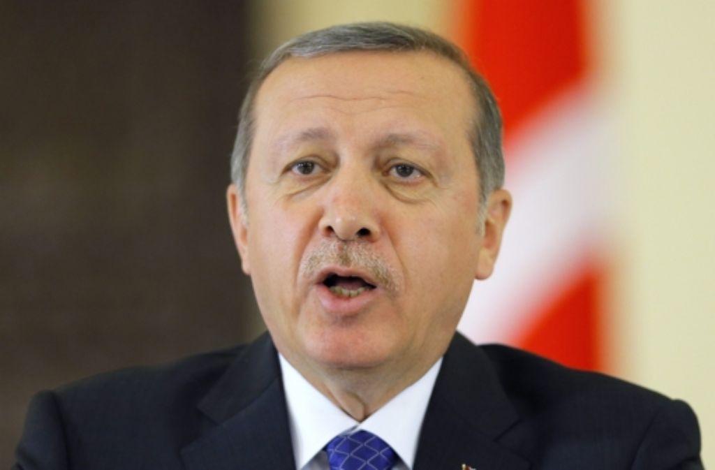 Der türkische Ministerpräsident Erdogan tritt heute in Karlsruhe auf. Foto: EPA