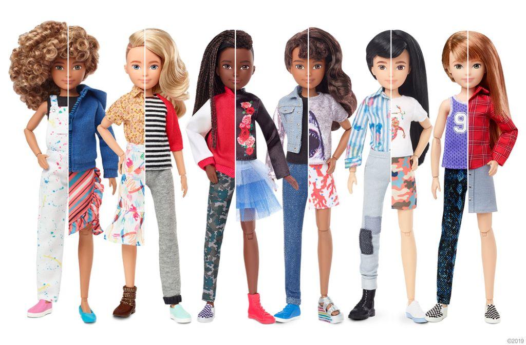 Die genderfluiden Puppen von Barbie-Hersteller Mattel gibt es in sechs Ausführungen. Foto: Mattel