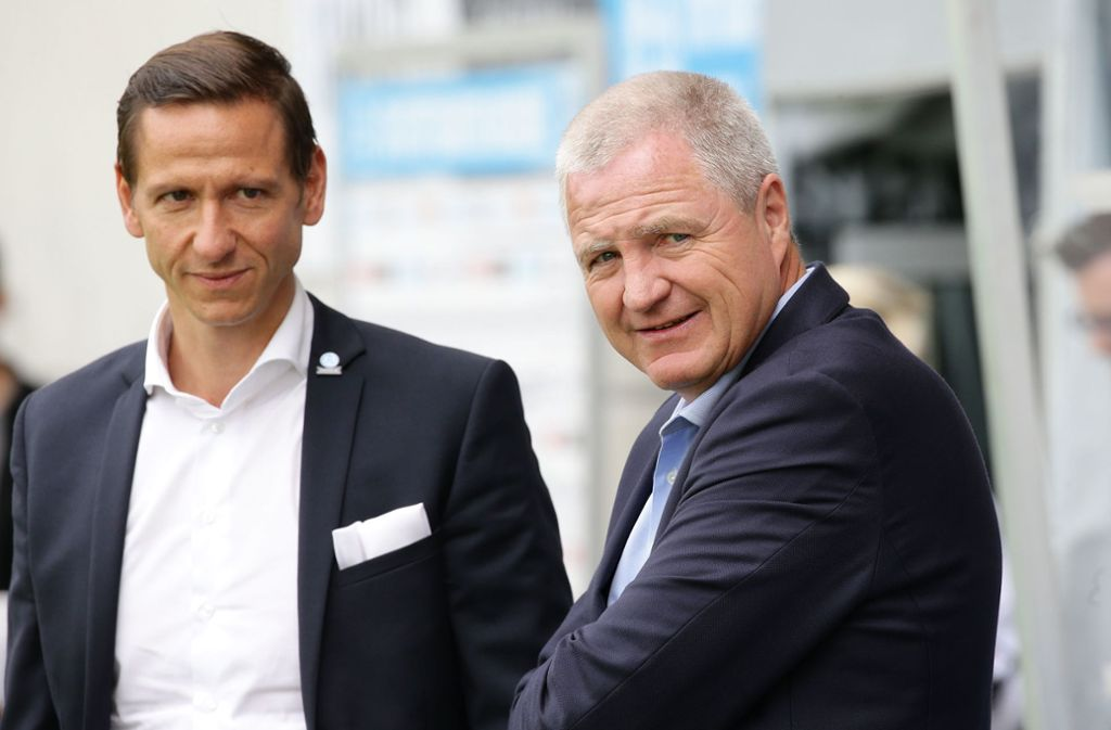 Arbeiteten seit 2016 zusammen: Marc-Nicolai Pfeifer (li.) und Rainer Lorz, der Präsident der Stuttgarter Kickers. Foto: Baumann
