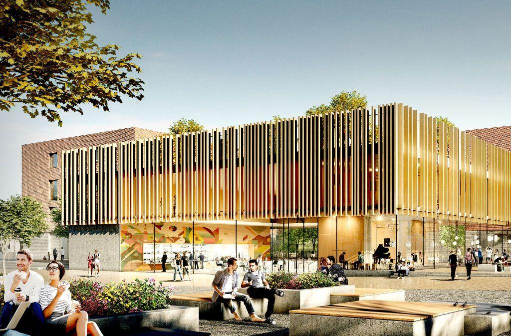 Der Siegerentwurf des Campus Feuerbach sieht als Herz die Mensa vor. Foto: Hermann Architekten/White Arkitekter/W+P Landschaftsarchitekten