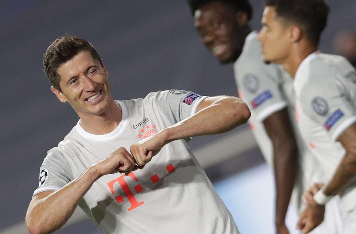 Darf Bayern-Star Robert Lewandowski auch im Finale gegen Paris jubeln? Foto: AFP/Manu Fernandez