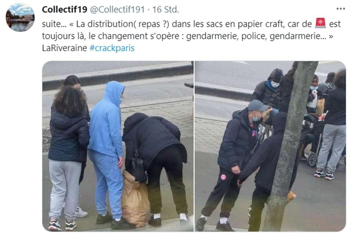 """Das """"Collectif 19"""" ist ein Zusammenschluss von Anwohnern in Paris. Sie dokumentieren seit Monaten den Drogenhandel in ihrem Viertel. Foto: Screenshot/Twitter"""