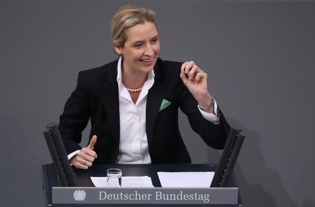Die AfD-Fraktionschefin Alice Weidel redete in der Generalaussprache im Bundestag über die dubiosen Spendengelder an ihre Partei. Foto: Getty Images Europe