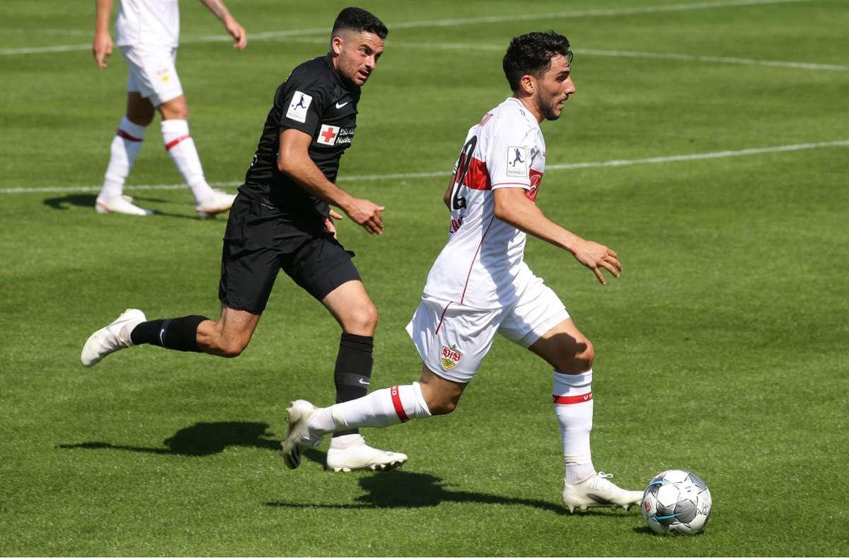 Nur Domenico Alberico traf für den VfB II im Freiburger Möslestadion. Foto: Baumann