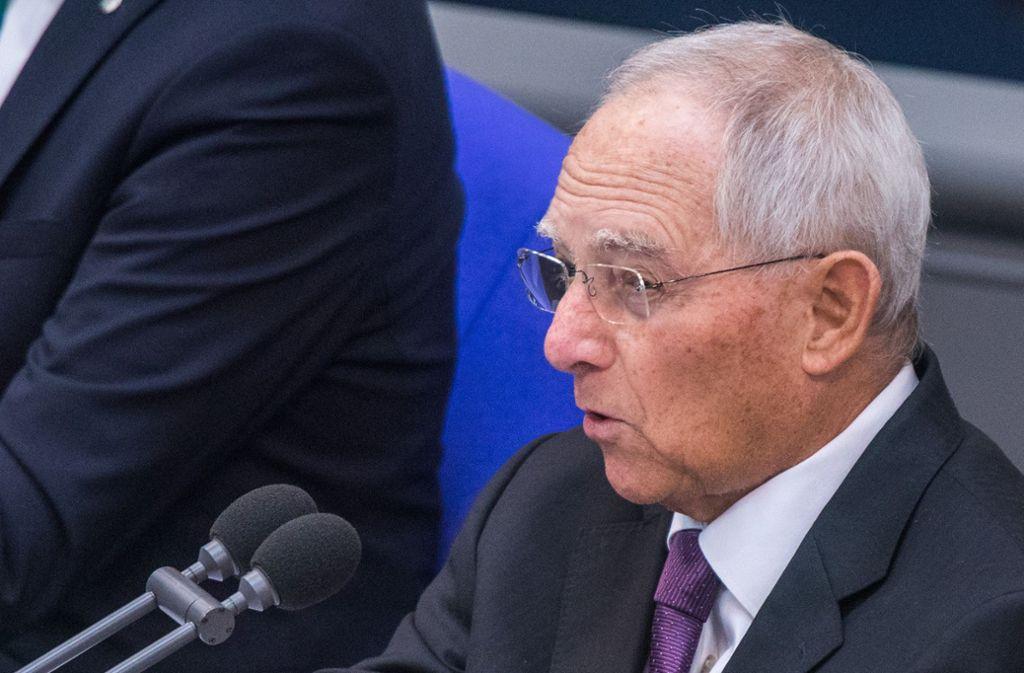 Bundestagspräsident Wolfgang Schäuble Foto: dpa-Zentralbild