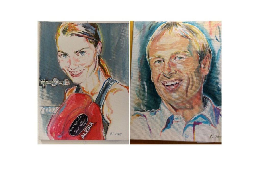 Alesia Graf und Jürgen Klinsmann, porträtiert von Christel Ziegler Foto: Jürgen Brand