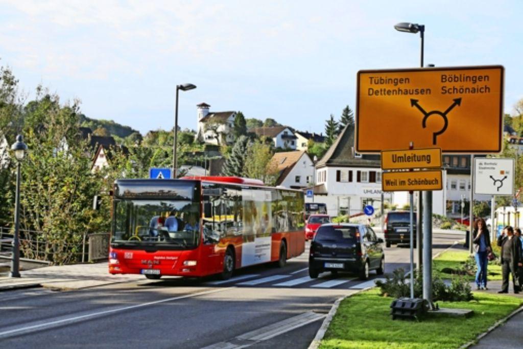 Die neue Buslinie würde an die  Linie 828, Flughafen  -Tübingen, die durch Waldenbuch führt (Bild), angebunden. Foto: Archiv Thomas Krämer