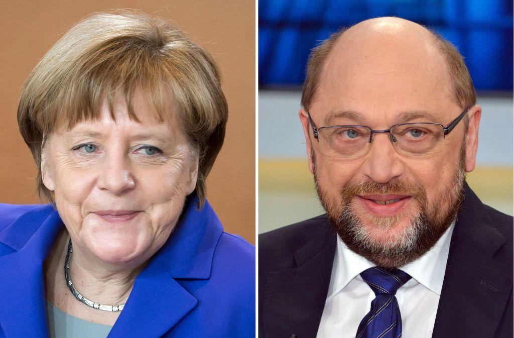 Duell ums Kanzleramt: Die Amtsinhaberin Angela Merkel (CDU) muss sich bei der Bundestagswahl im Herbst gegen den Herausforderer von der SPD, Martin Schulz, behaupten. Foto: dpa