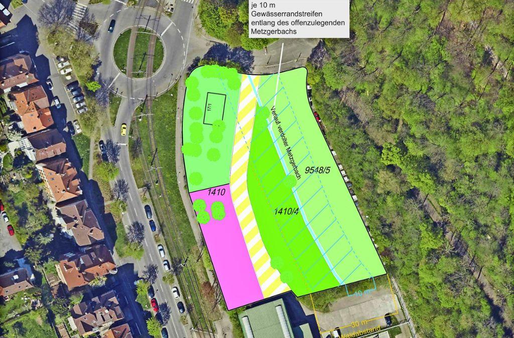 """So sieht die Skizze """"Freiflächen an der Beethovenstraße"""" aus, die das Amt für Stadtplanung und Stadterneuerung erstellt hat. Auf der rosa-gefärbten Fläche soll das Haus der Jugend  gebaut werden. Auf dem Flurstück 1410/4 sind Freiflächen für Jugendliche vorgesehen. Und  auf der anderen Seite des renaturierten Metzgerbaches soll ein Bürgerpark (9548/5) entstehen. Foto: Amt für Stadtplanung und Stadterneuerung"""