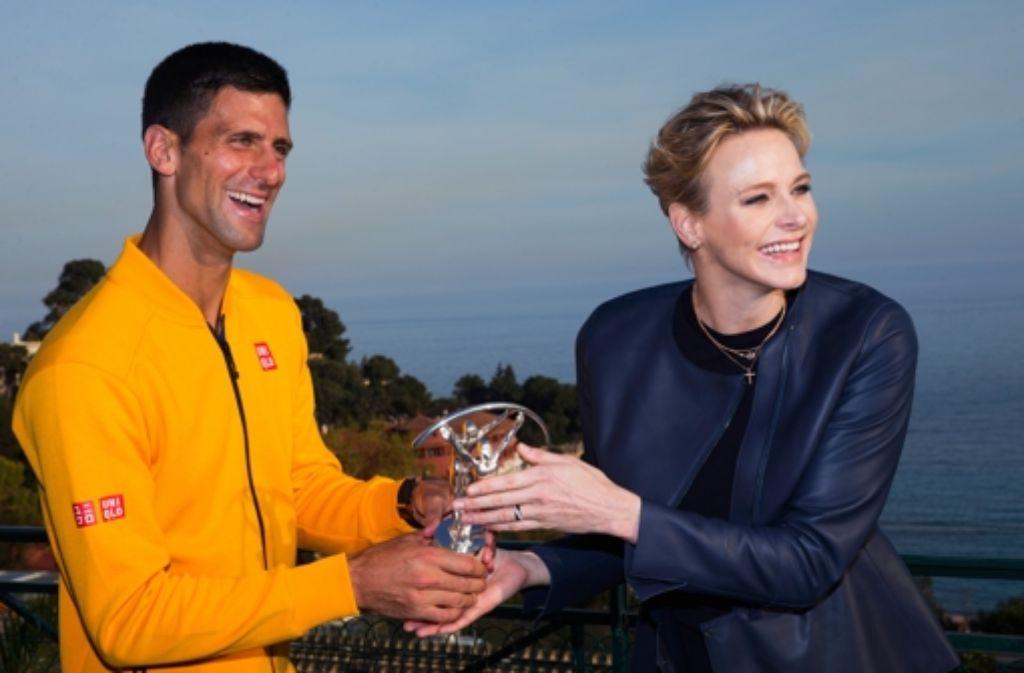 Charlène von Monaco hat Tennisass Novak Djokovic den Laureus World Sports Award als Sportler des Jahres in Monte Carlo überreicht. Foto: Getty Images AsiaPac