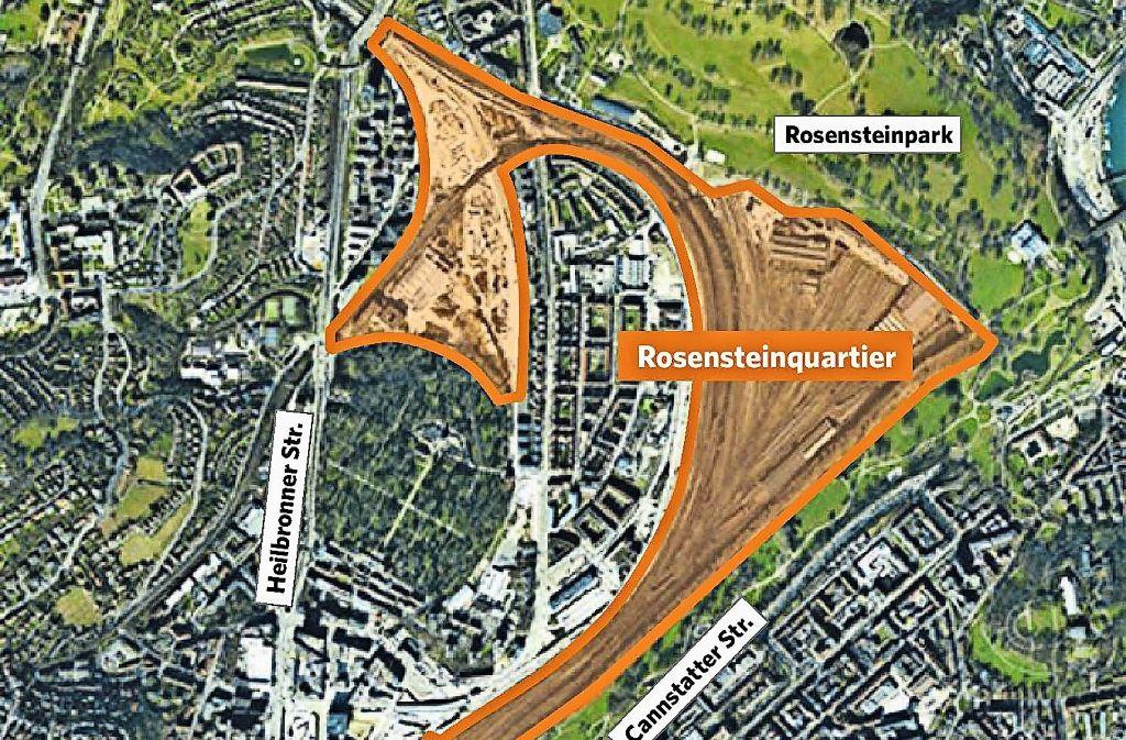Wann das geplante Rosensteinquartier auf dem heutigen Gleisvorfeld Realität wird, steht derzeit noch in den Sternen. Foto: Screenshot StZ