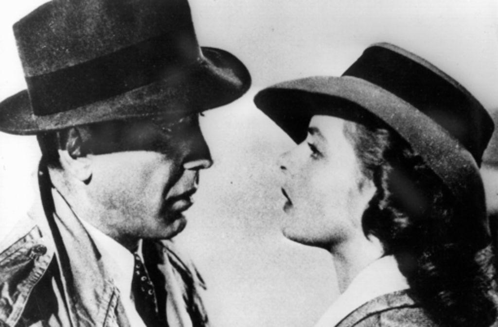 """Eines der bekanntesten Paare der Filmgeschichte: Ingrid Bergman und Humphrey Bogart in """"Casablanca"""". Foto: dpa"""