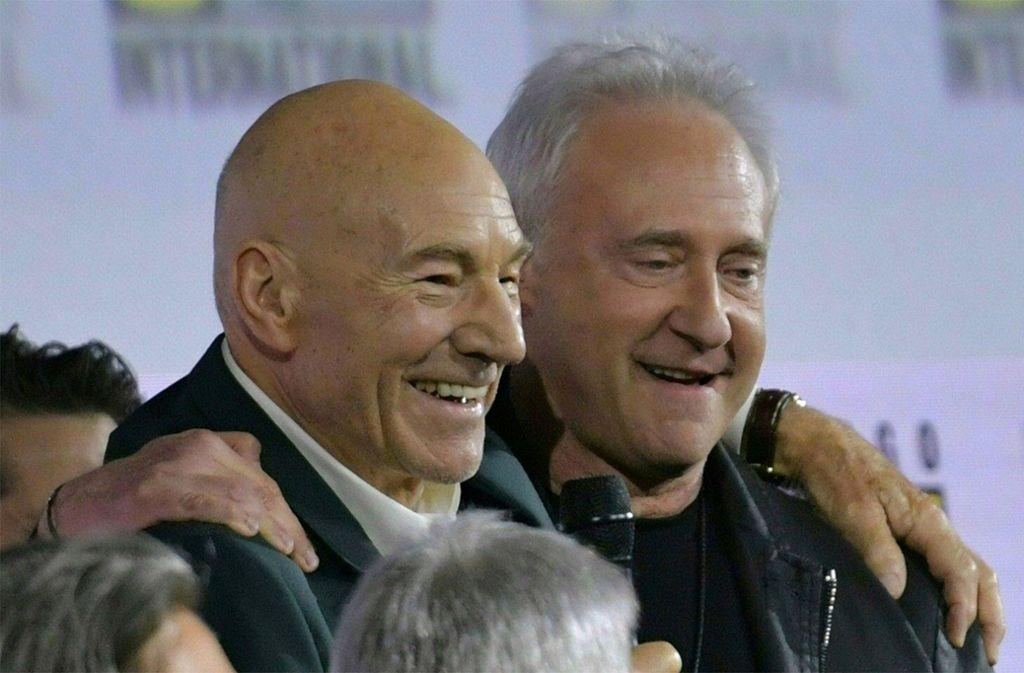 Sir Patrick Stewart (Captain Picard) mit seinem Kollegen Brent Spiner (Data) Foto: AFP