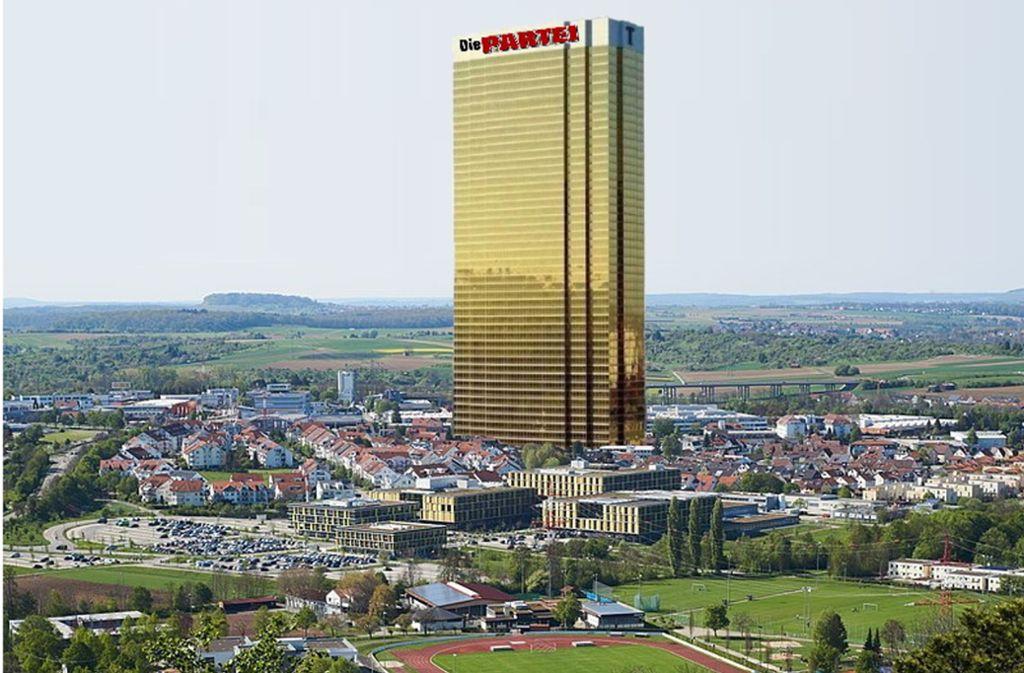 Auf diesen Wolkenkratzer will die Satire-Partei übrigens großzügig verzichten. Foto: Die Partei Backnang