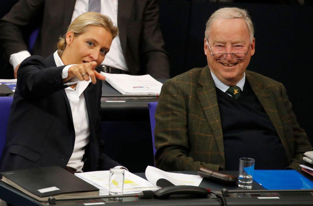 Die Fraktionschefs der AfD, Alice Weidel und Alexander Gauland. Foto: AFP
