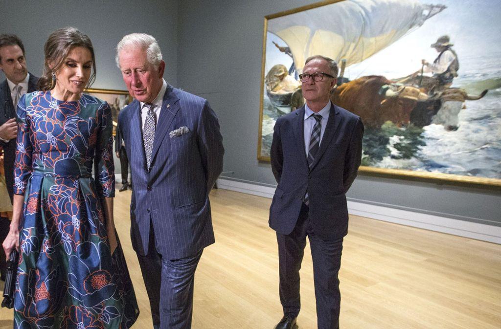 Prinz Charles und Königin Letizia besuchten die Eröffnung der Sorolla-Ausstellung in der National Gallery in London. Foto: