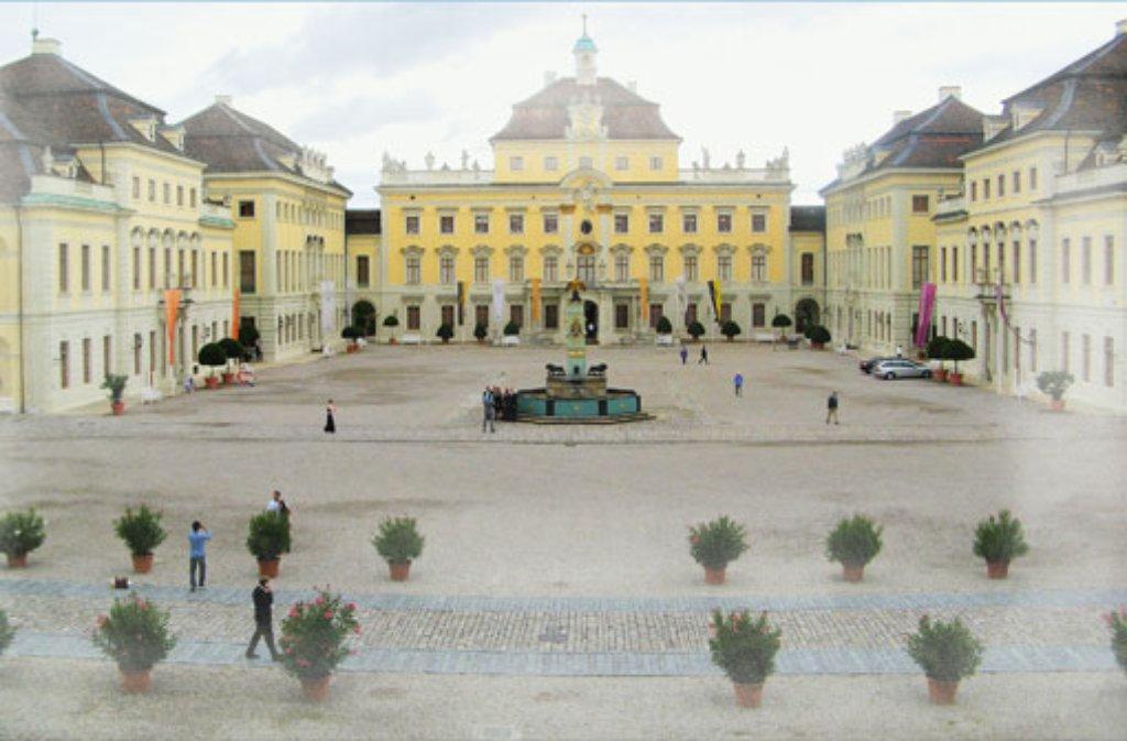 Winzig sehen die Oleander und die Touristen vor dem Residenzschloss Ludwigsburg aus. Foto: Leserfotograf ebib