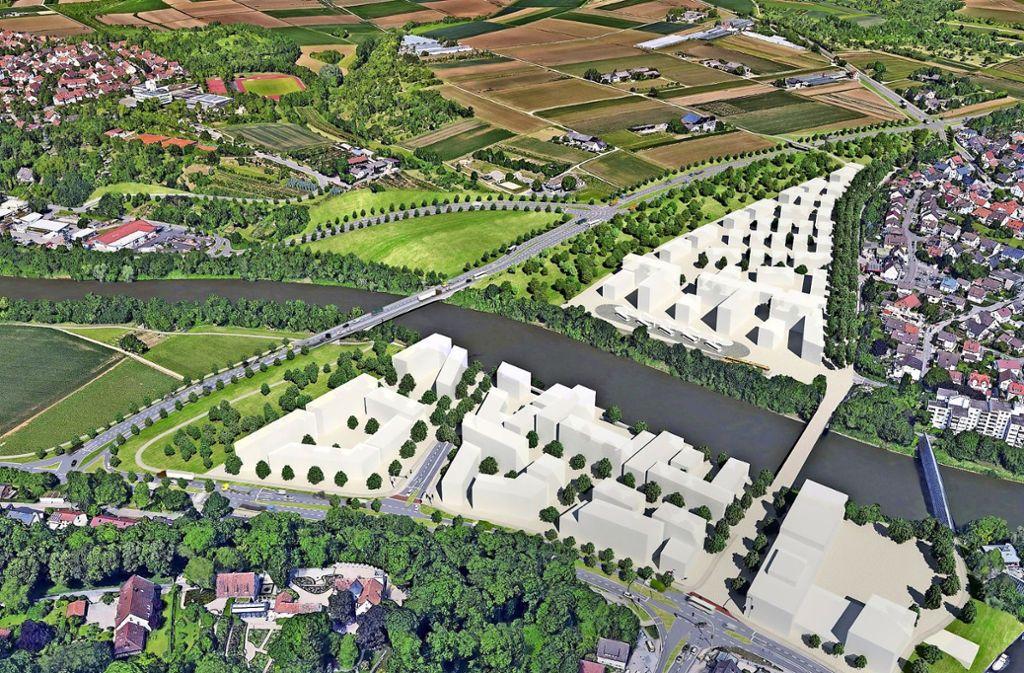 140 hochumstrittene Meter: Die neue Westrandbrücke in Remseck (links). Ob sie kommt, entscheiden die Bürger im Frühjahr 2020. Foto: ISTW Planungsgesellschaft