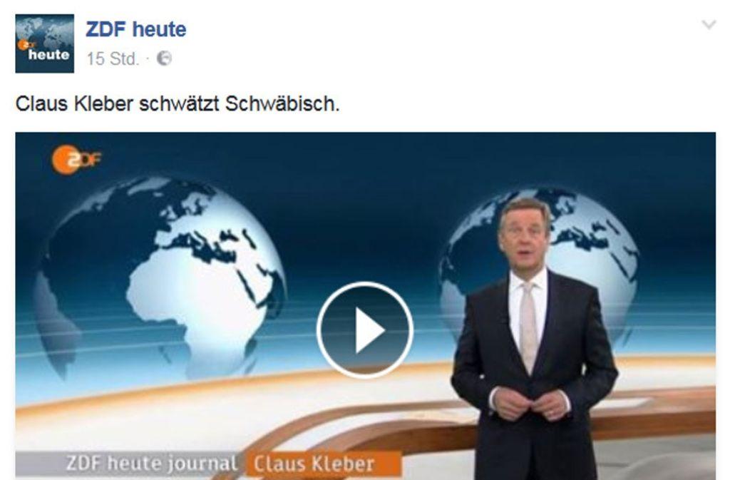 Claus Kleber schwätzt schwäbisch. Foto: Facebook/ZDF heute