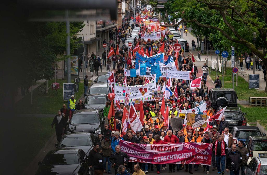 4000 Menschen zogen im Vorjahr am 1. Mai durch Stuttgart. Foto: Lichtgut/Max Kovalenko
