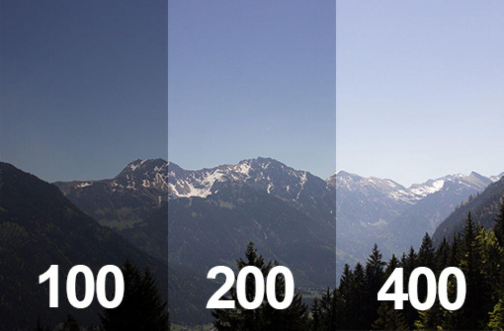 Belichtungsreihe bei gleicher Blende und Verschlusszeit mit steigendem ISO-Wert. Foto: Florian Kontny