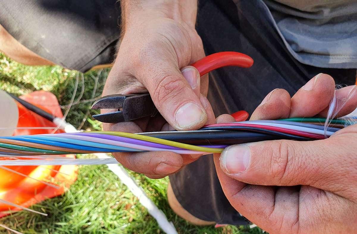 Die Stadtwerke haben bunte Glasfaserkabel für schnelles Internet an den Schulen in der Kernstadt verlegt. Foto: Stadtwerke Herrenberg/Kühn