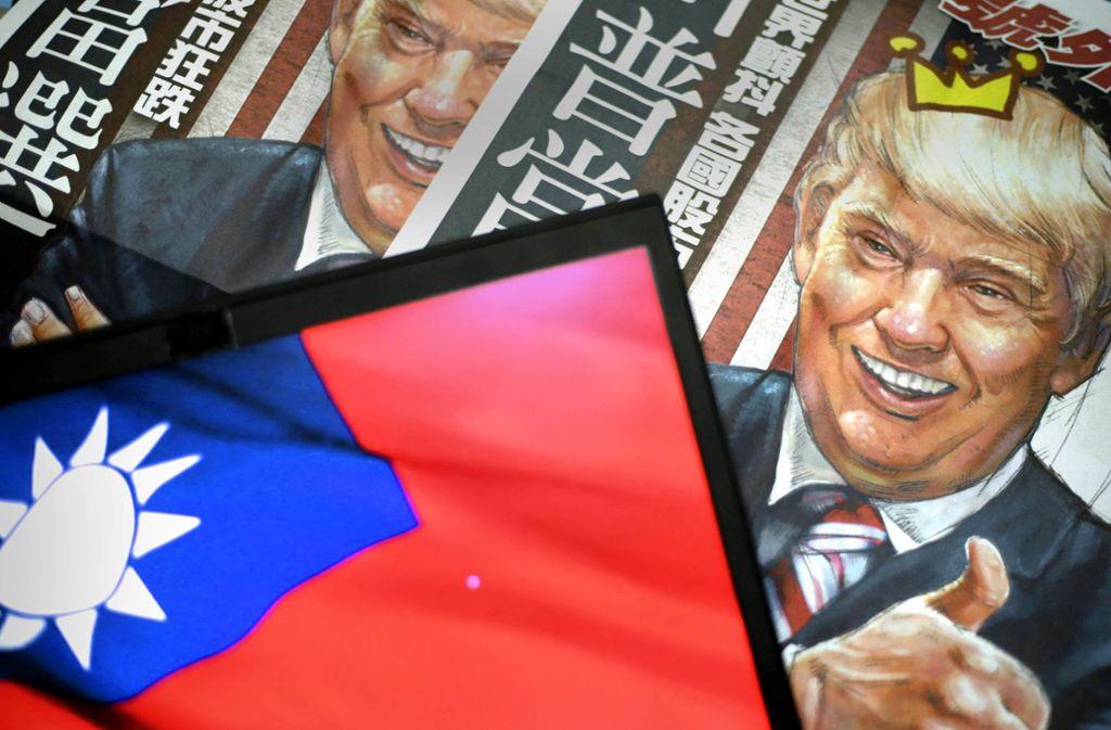 In den Zeitungen  Taiwans kommt Präsident  Trump meistens gut weg. Foto: dpa/Ritchie B. Tongo