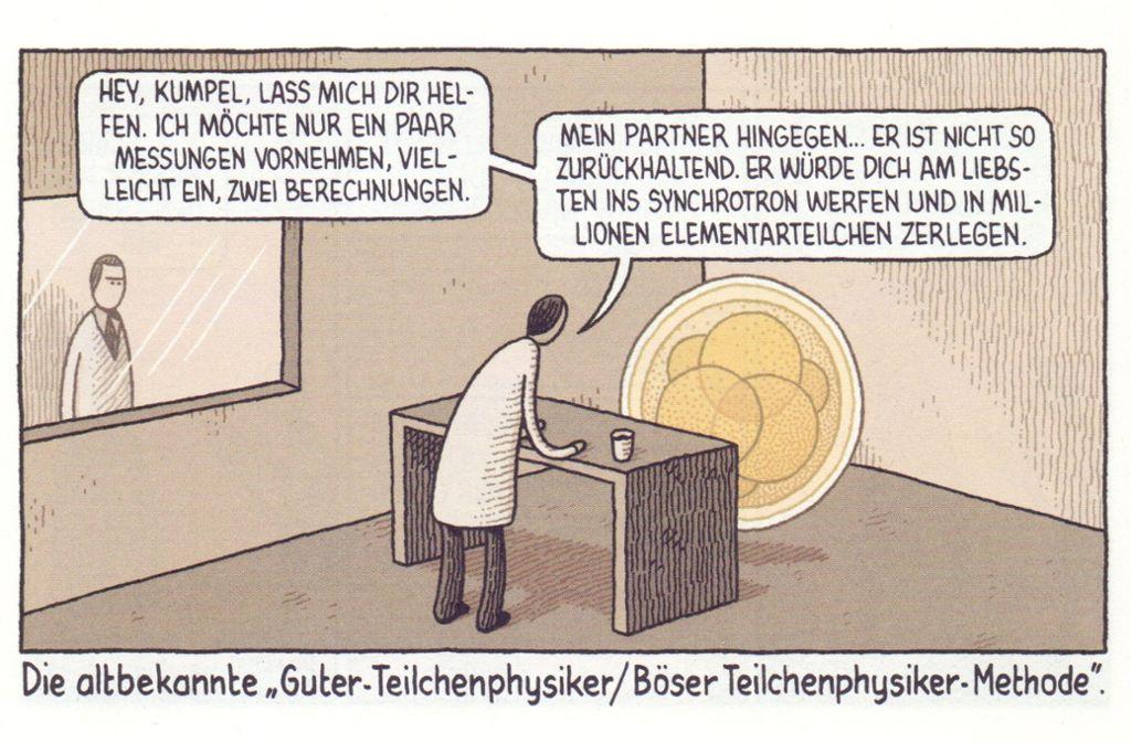 Der Cartoonist Tom Gauld mixt gerne: zum Beispiel ein Krimiklischee mit Teilchenphysik,. Foto: Edition Moderne/Tom Gauld