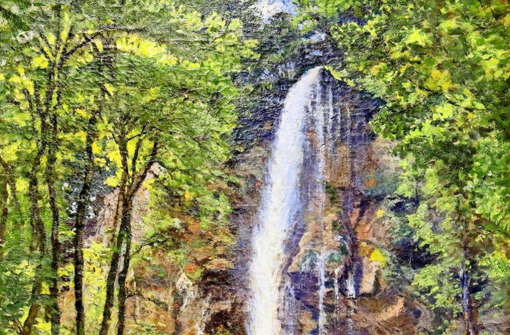 Diese Ansicht des Uracher Wasserfalls hat Hermann Drück (1856–1931) aus Vaihingen/Enz gemalt. Foto: Horst Haas