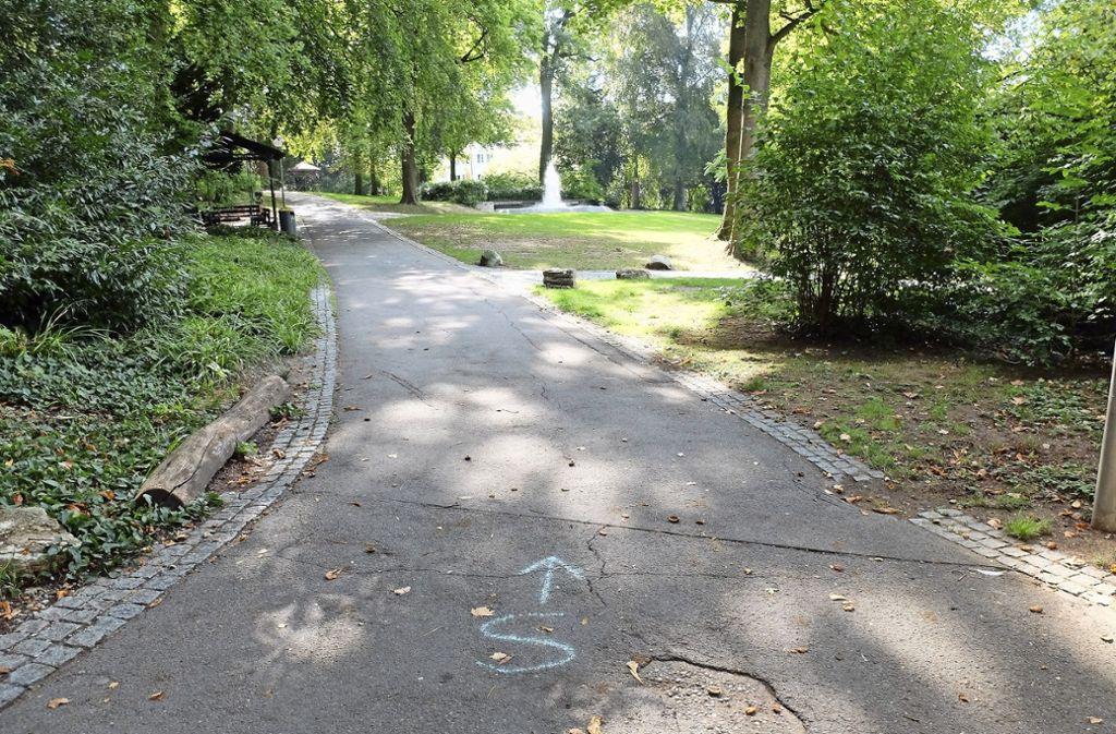 Die Wege im Kurpark werden in Kürze saniert. Gestartet wird im oberen Bereich der Grünanlage. Foto: Iris Frey