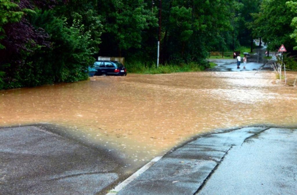 Beim Aktivspielplatz in Musberg hatte der Reichenbach die Böblinger Straße am Montag überflutet. Foto: privat