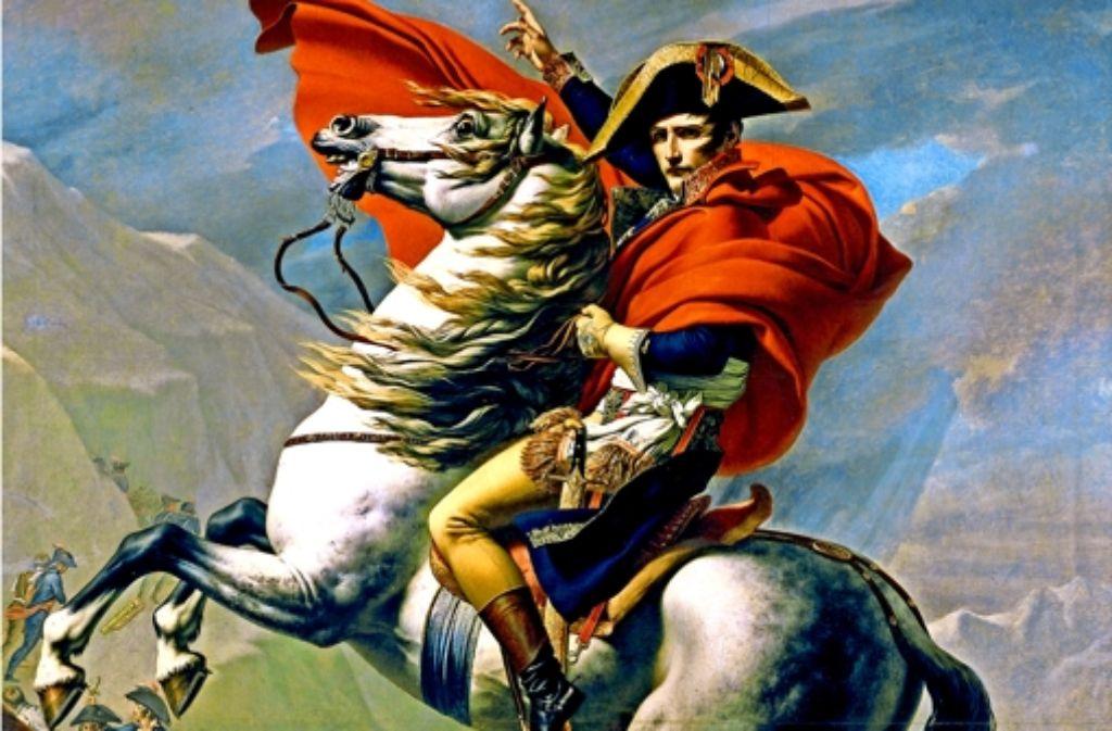 """""""Bonaparte beim Überschreiten der Alpen am Großen Sankt Bernhard"""": der französische Historienmaler Jean-Louis David schwelgt 1800 im französischen Heroismus. Die Folgen für die europäischen Nachbarn bleiben da notgedrungen ausgespart. Foto: AKG"""