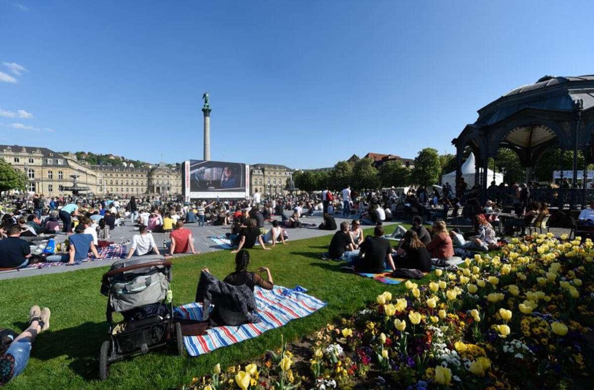 Ein Bild aus besseren Tagen: Wie schon 2020 verhindert die Corona-Pandemie auch in diesem Jahr das Trickfilm-Open-Air auf dem Schlossplatz. Foto: ITFS/Reiner Pfisterer
