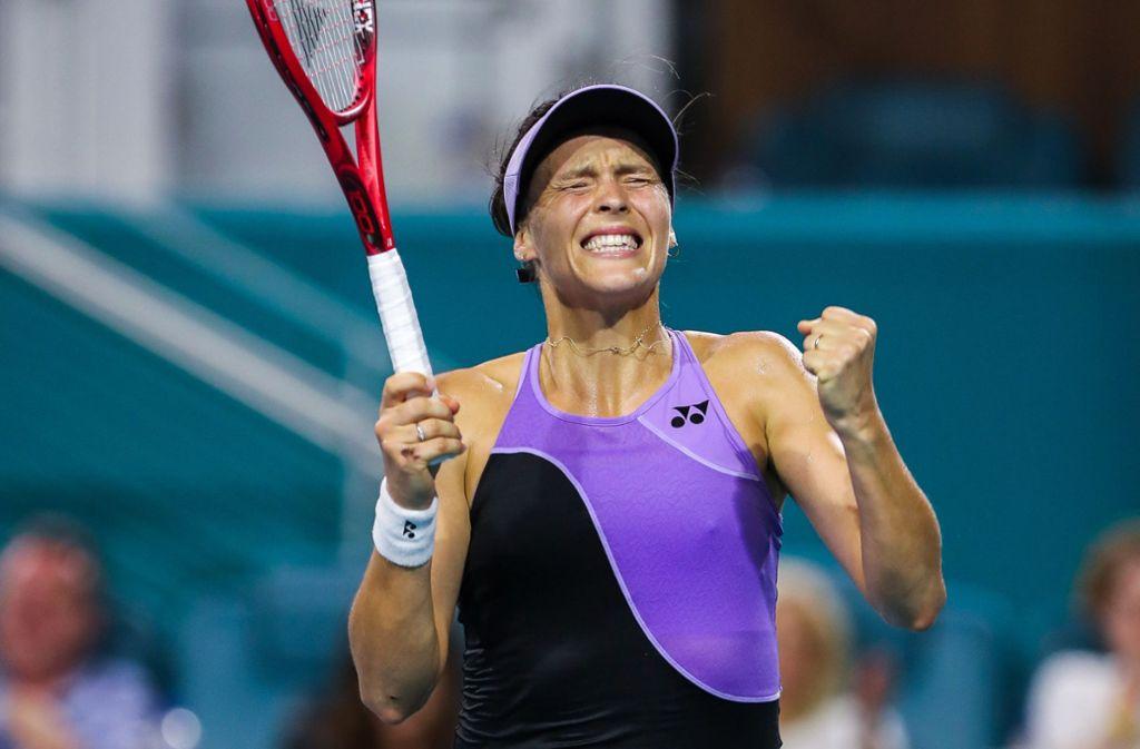 Tatjana Maria ärgert sich nach ihrer Niederlage. (Archivbild) Foto: dpa