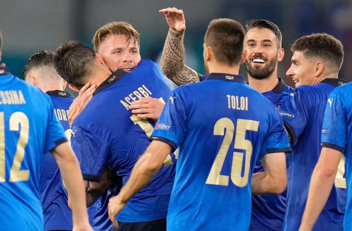 3:0 gegen die Schweiz bei der EM 2021 – die Italiener sind glücklich. Foto: AFP/ALESSANDRA TARANTINO