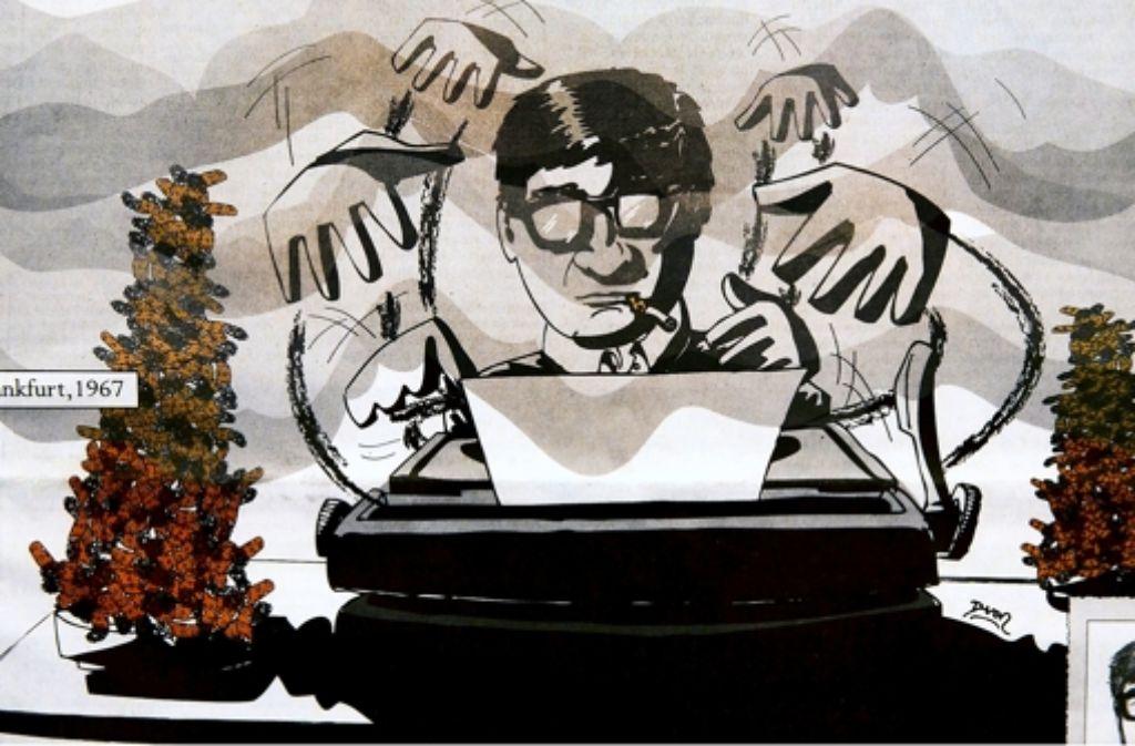 Peter Härtling, wie ihn der Illustrator Davor Bakara sieht Foto: Horst Rudel