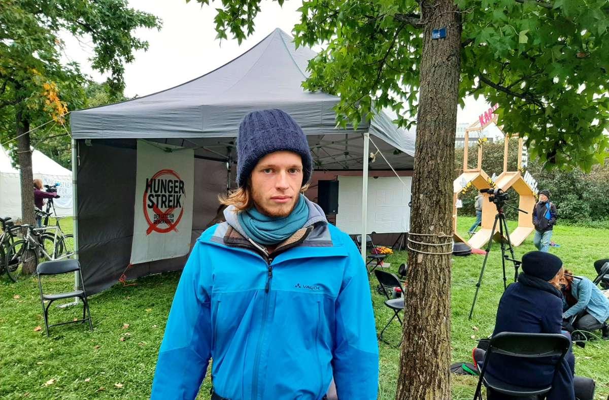 Ausstieg nach drei Wochen: Simon Helmstedt hat seinen Hungerstreik beendet. Foto: David Scheu