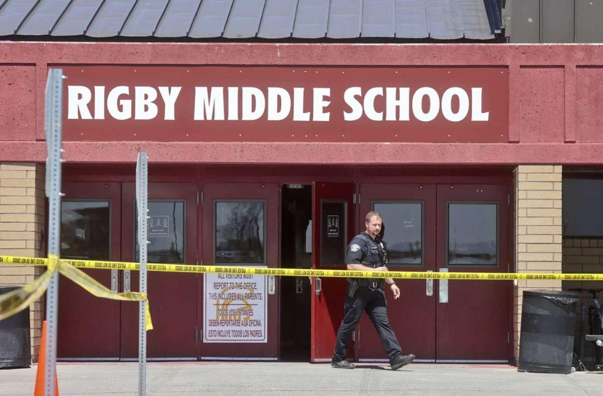 Die Rigby Middle School in Idaho/USA wird zum Tatort von Waffengewalt. Foto: dpa/Natalie Behring