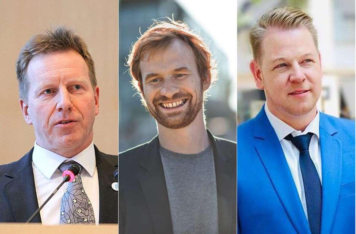 Ralph Schertlen, Hannes Rockenbauch und Marco Völker antworten auf persönliche Frage. Foto: Yann Lange/Lichtgut/Collage Kares