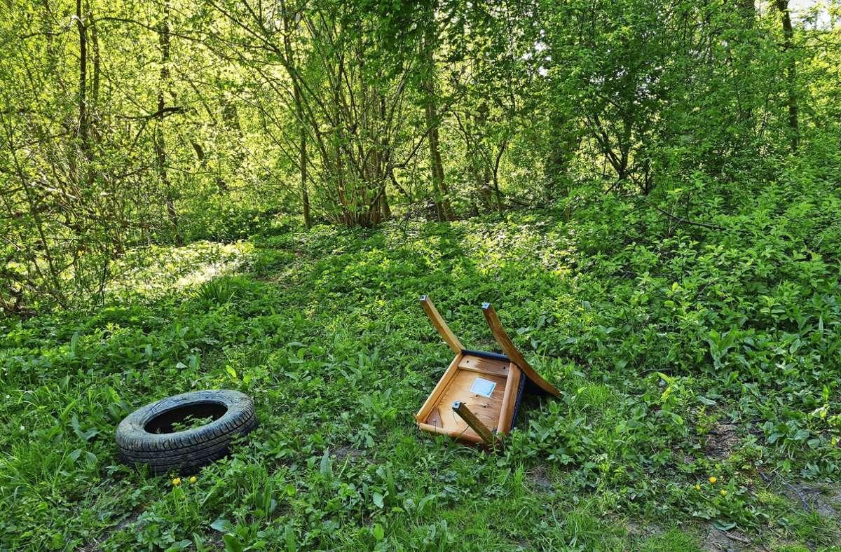 Diese Stelle am Klärwerk in Stuttgart-Möhringen hat nicht nur viele Besucher, sondern auch viel hinterlassenen Müll. Foto: privat