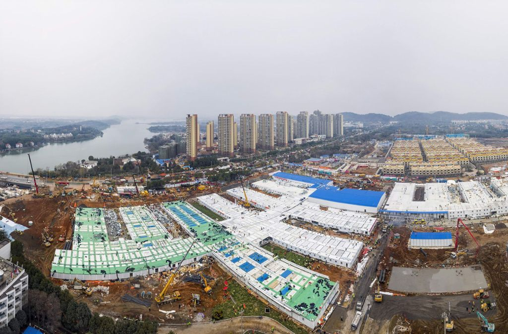 Nur zehn Tage haben die Bauarbeiten in Wuhan gedauert. Foto: dpa/Uncredited