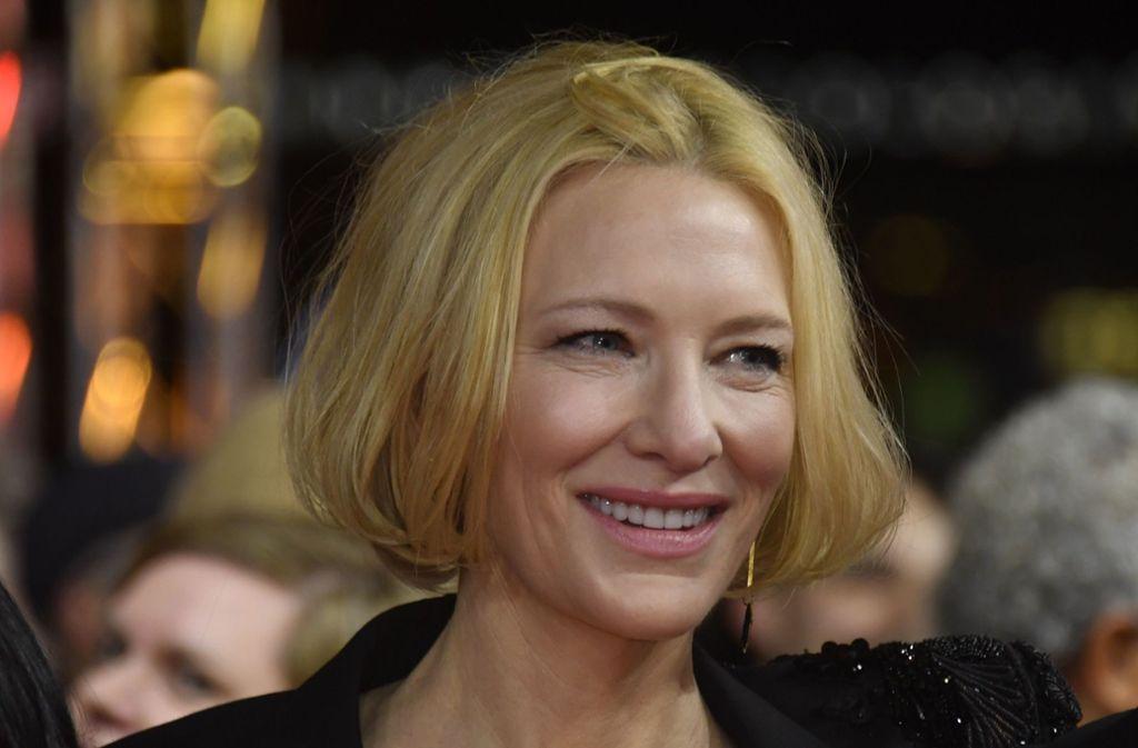 """Die australische Schauspielerin Cate Blanchett besuchte die Berlinale für die Vorführung der Serie """"Stateless"""", in der sie eine der Hauptrollen spielt. Foto: AFP/John MacDougall"""