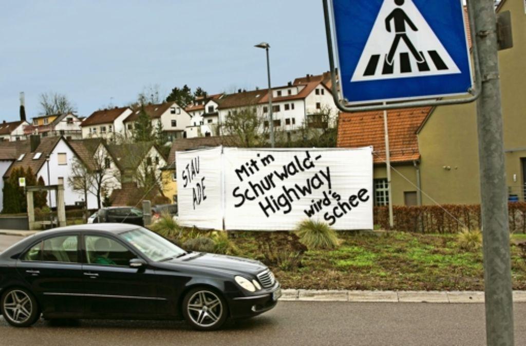 Närrische Forderung: der Schurwald-Highway muss her. Foto: Horst Rudel