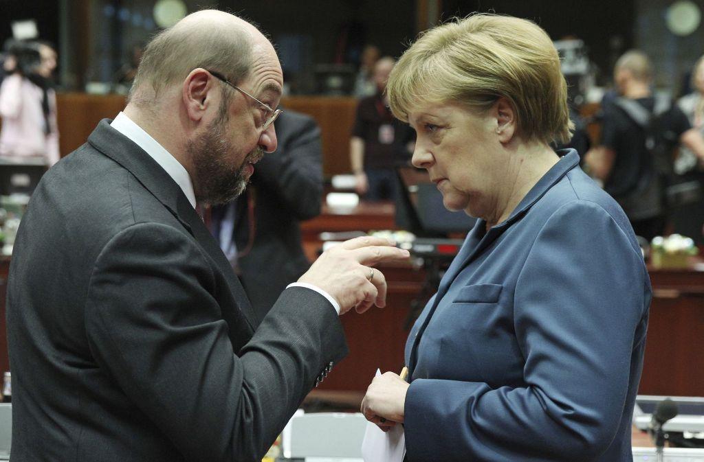 Das TV-Duell zwischen Angela Merkel und Martin Schulz können die Zuschauer live bewerten. Foto: AP