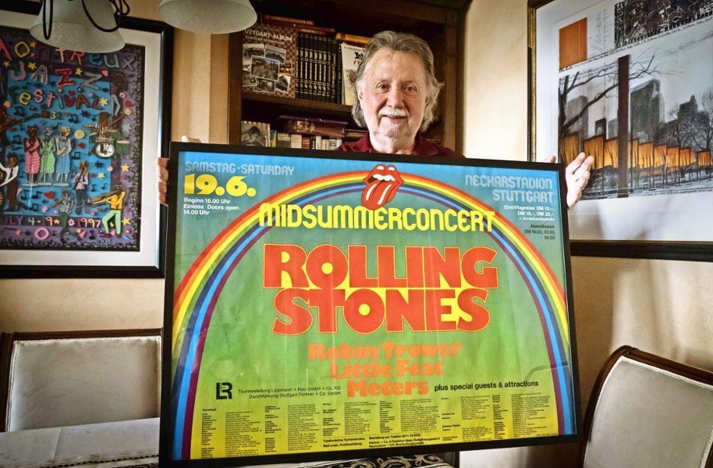 Das  Stones-Konzertplakat weckt viele persönliche Erinnerungen. Foto: Lg/Achim Zweygarth